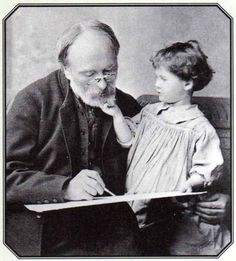 British painter Edward Burne Jones and his Granddaughter Angela, 1893. Angela would go on to become the writer Angela Thirkell - whose books I love.