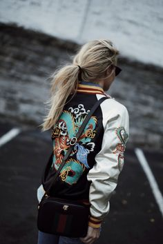 7e1d38dad96378 HEIRLOOM · Embroidered Bomber JacketSatin ...