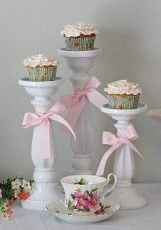 Use my candle pillar holders for the girls' main cupcakes for their party. Girls Tea Party, Tea Party Theme, Tea Party Birthday, Cake Birthday, Party Hats, 5th Birthday, Birthday Ideas, Vintage Tea Parties, Vintage Party