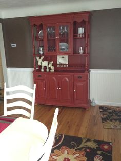 Farmhouse Open Hutch Buffet Red Distressed With Driftwood