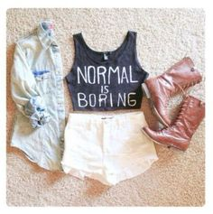 Normal is boring.  #croptop #highwaistedshorts #boots