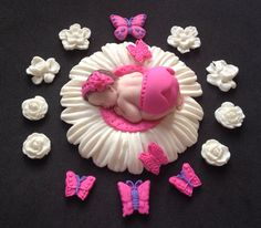 Check out this item in my Etsy shop https://www.etsy.com/listing/152945370/fondant-baby-girl-white-and-pink-daisy