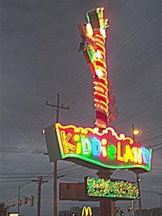 Chicago Photography, Kiddieland, carnival photography, vintage neon sign, children, rainbow, mulitcolored, 11x14 - KIDDIELAND AT NIGHT on Etsy, $48.00