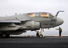 A U.S. Navy EA-6B Prowler aircraft assigned to Electronic Attack Squadron (VAQ) 131 prepares to launch from the aircraft carrier USS Abraham Lincoln (CVN 72) in the Arabian Sea July 9, 2012. Abraham Lincoln was deployed to the U.S. 5th Fleet area of responsibility conducting maritime security operations and theater security cooperation. (DoD photo by Mass Communication Specialist 3rd Class Carlos M. Vazquez II, U.S. Navy/Released)