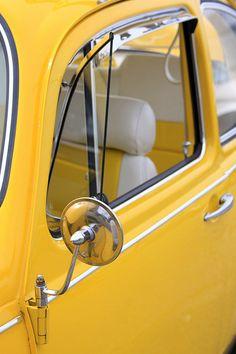 yellow  vw beetle side mirror