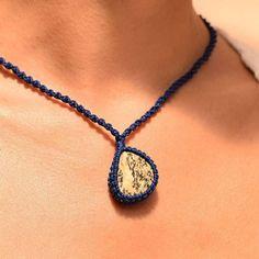 macrame necklace • stone • blue • black&white