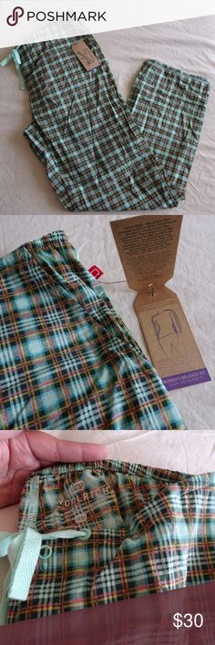 """Woolrich 'Awaken Pants' Plaid Cotton Lightweight New, perfect Christmas gift idea! Elastic band at waist along with drawstring tie. Snap Fly Light minty blue, teal, yellow, salmon, multi color pants Relaxed fit. 2 pockets in front Across at waist 16 1/2"""" but lots of stretch Inseam 29 1/2""""  All items come from a non-smoking home! Woolrich Intimates & Sleepwear Pajamas"""