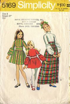 Vintage Girls Short and Long Dress Sewing Pattern Simplicity 5169 Size 6 Bust 25 Hip 26 Girls Dresses Size 8, Vintage Girls Dresses, Vintage Outfits, 1970s Dresses, Dress Vintage, Sewing Patterns For Kids, Simplicity Sewing Patterns, Vintage Sewing Patterns, Patron Vintage
