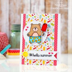Simon Says Stamp New Release Summertime Bear and Popsicle! Card by Wanda Guess