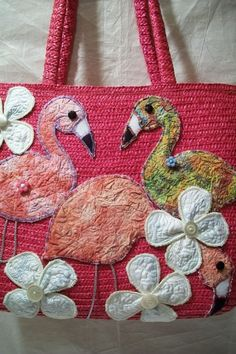 Large Tote Upcycled Hot Pink Straw Bag with Funky by GreenBeezArt, $32.00