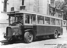Paris - Autobus - Un Panhard K63B de 1934 dans les derniers mois précédant le retrait définitif de ces voitures. Le capot avant différait nettement de celui des Renault TN : l'absence de soupape rendait l'encombrement du moteur moins important en hauteur, d'où cet aspect particulier.