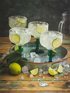 Set the scene with these ice-loaded Margaritas. Alcoholic Drinks, Cocktails, Lime Wedge, Fruit Recipes, Punch Bowls, Allrecipes, Scene, Table Decorations, Margaritas