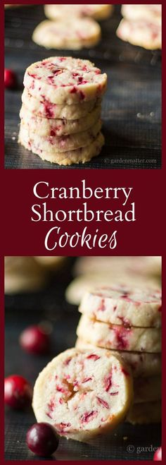 This festive cranberry shorbread cookie recipe uses fresh cranberries instead of dried. I promise you won't miss the extra sugar.