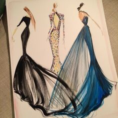 Sketch of the day: custom Siriano gowns at the SAG Awards last night. Sketch prints are available online at www.christiansiriano.com #cssketch