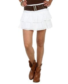 Eyelet Tiered Belted Skirt from WetSeal.com