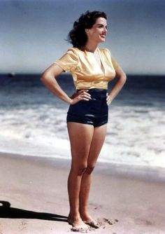 Jane Russell on the beach