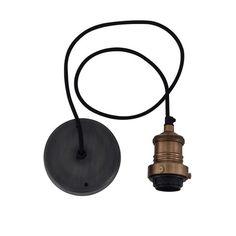 Vintage Lamp Shade Cord Set ES E27 Bulb Holder - Brass & Fabric Flex