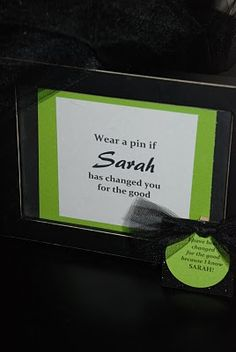 I made little pins for everyone to wear in honor of the bday girl at a Wicked theme party. They were made out of tiny clothes pins, black sparkly foam, lime green paper, and black tulle