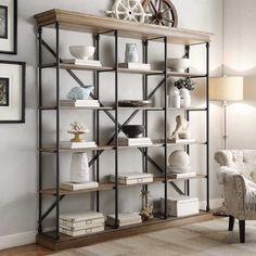Add bold and rustic character to any room with this industrial style extra-large bookcase. Enjoy classic design styling with multiple open sections to meet a variety of organizational needs.