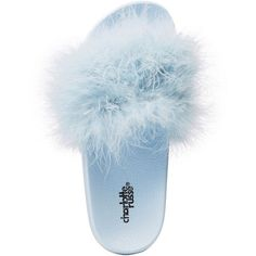 Charlotte Russe Faux Feather Slide Sandals ($15) ❤ liked on Polyvore featuring shoes, sandals, light blue, faux shoes, charlotte russe, rubber shoes, light blue shoes and rubber slide sandal