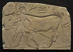 Men Trussing an Ox, 667-647 BC Egypt, Thebes, Late Period, Late Dynasty 25 to Early Dynasty 26  limestone