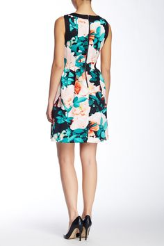 Printed Scuba Fit & Flare Dress by Vince Camuto on @nordstrom_rack