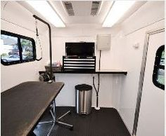 Pet Grooming Table Inside a Trailer