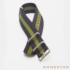 Green and black striped nato available in steel buckle: http://momentum-dubai.com/collections/watch-straps/products/watch-strap-nato-green-black-single-striped