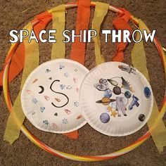 """S is for Space. Do this gross motor activity and throw t… Preschool Theme: Space. S is for Space. Do this gross motor activity and throw the space ships through """"outer space! Space Theme Preschool, Space Activities For Kids, Gross Motor Activities, Art Therapy Activities, Preschool Activities, Summer Themes For Preschool, Outer Space Crafts For Kids, Preschool Plans, Kindergarten Science"""