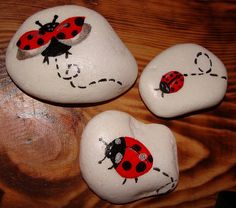 "ladybugs on stones*~* Perfect idea for ""pattern cutting holding stones"""