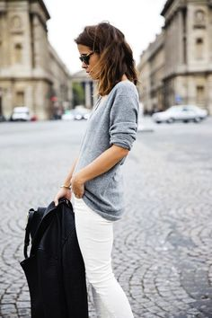 can't wait to wear: white jeans and gray sweater