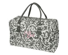 PERSONALIZED LUGGAGE - Ella Grey Collection - Personalized Grey Damask Luggage (Click to see Complete Collection)