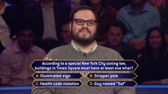 Thursday, it's an all-new #MillionaireTV. Contestant Brandon Echter takes on #NYC zoning laws in this question he faces. Now, he wants to light up more than just #TimesSquare with the correct #FinalAnswer. Is Brandon in for a big payday? Don't miss Thursday's show with host Terry Crews. Go to www.millionairetv.com for local time and channel to watch!