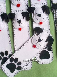 1001 Feltros: Marca-páginas cachorrinho e sorteio no blog Minuano!!!