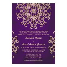 PURPLE AND GOLD INDIAN STYLE WEDDING INVITATION.  $2.05  #indianweddinginvitation #indianstylewedding #weddinginvitations
