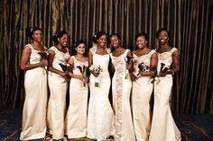 Beautiful bridesmaids in Kosibah couture dresses. Ghanaian groom  Nigerian bride. BellaNaija Weddings