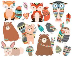 Woodland Tribal Animals Cute Forest and Nature Design Elements Vector - Trend Illustration Design 2019