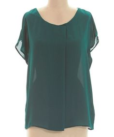 Take a look at this Teal Cape-Sleeve Top by Coveted Clothing on #zulily today!