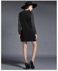 Long Sleeve Loose Dot Black Dress 4XL Plus Size