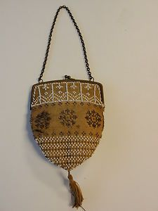 Antique Victorian Beaded Purse Evening Bag Chain Handle Cloth Tassel Lined Old | eBay