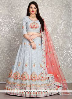 "buy georgette indian wedding dress from Ethncitrendz.com Lehenga : Febric - Heavy Gerogette with double inner Inner - Satin silk Flair - 3.3 Meter Stitching - standard cancan and heavy canvas attached size - free size up to 42"" work - resham Thread work Multi Thread work. Indian Wedding Lehenga, Indian Wedding Wear, Wedding Dress, Lehenga Choli, Bridal Lehenga Online, Party Wear, Div Style, Pearl Grey, Designer Collection"