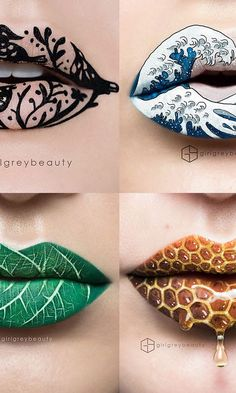 - Makeup Artist Creates Extraordinary Lip Art ~~ Artists come in all shapes and sizes, as do their canvases. So when we found out that Andrea Reed, who runs Girl Grey Beauty from Victoria… Crazy Makeup, Cute Makeup, Lip Makeup, Unique Makeup, Amazing Makeup, Lip Designs, Makeup Designs, Maquillage Phosphorescent, Make Up Art