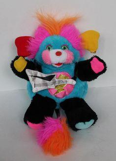 Vintage 80s Mattel Punkster Rock Star POPPLES Plush Stuffed Toy Doll w/Guitar…