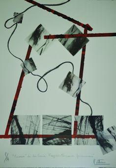 """""""Escape"""" Fotograbado, collage, lápiz dermográfico."""