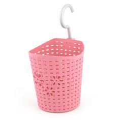 800dc6eacc22 Kitchen Plastic Flower Hollow Out Design Hanging Storage Basket Case Pink