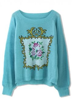 Floral Print Knit Sweater in Blue