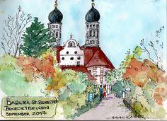 Chammi's Sketchbook. The lovely old Benediktbeuren Monastery in upper Bavaria on a sunny Autumn day.