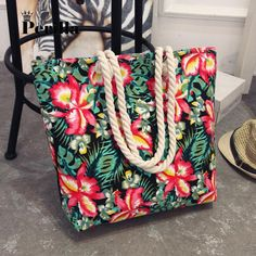 Floral Tote Canvas Shoulder Bag Beach Bag