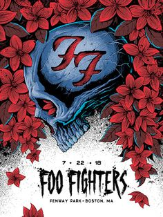 Foo Fighters Fenway Park Poster By Brandon Heart Release Rock Festival, Concert Festival, Tour Posters, Band Posters, Music Posters, Retro Posters, Foo Fighters Poster, Concert Rock, Heavy Metal Art
