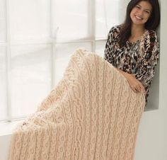 Dancing Cable Afghan - Knitting Kit includes Yarn & Pattern! - Shop Craftsy's premiere assortment of knitting supplies and save! Get the Dancing Cable Afghan before it sells out. - via @Craftsy